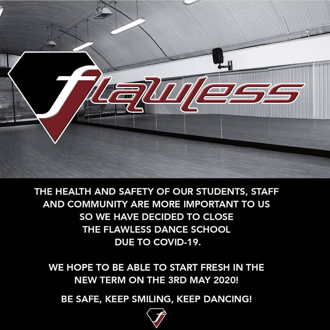 Flawless Dance School closed due to COVID-19
